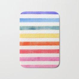 Rainbow stripes on canvas Bath Mat