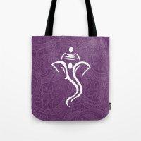 hindu Tote Bags featuring Purple Ganesha - Hindu Elephant Deity by Enduring Moments