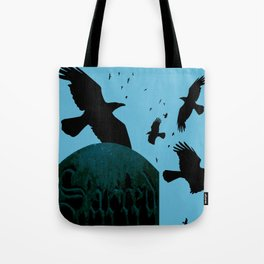 Sacred Gothic Text Gravestone With Crows and Ravens Tote Bag