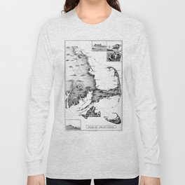 Vintage Map of Cape Cod (1885) BW Long Sleeve T-shirt