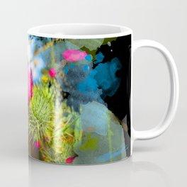 Vibrant painted thistle on black Coffee Mug
