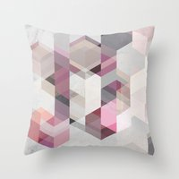 nordic Throw Pillows featuring Nordic Combination 22 Y by Mareike Böhmer