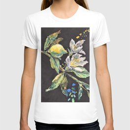 Branch with White Lemon Flowers and Yellow Fruit. T-shirt