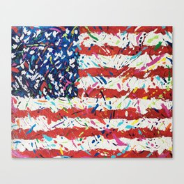 Born on the 4th of July, US Confetti Flag Canvas Print