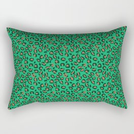 Greenery Green and Beige Leopard Spotted Animal Print Pattern Rectangular Pillow