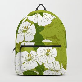 Green Hibiscus Pattern Backpack