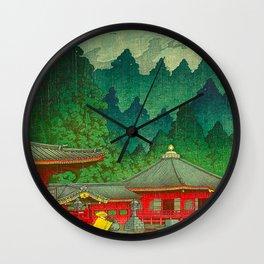 Vintage Japanese Woodblock Print Rainy Day At The Shinto Shrine Tall Pine trees Yellow Rain Coat Wall Clock