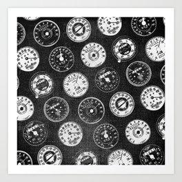 Dark Vintage Motorcycle Speedometers Art Print
