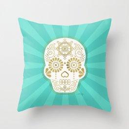 Día de Muertos Calavera • Mexican Sugar Skull – Turquoise & Gold Palette Throw Pillow