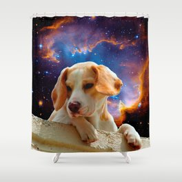 beagle puppy on the wall looking at the universe Shower Curtain