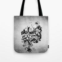jack skellington Tote Bags featuring Jack Skellington by bimorecreative