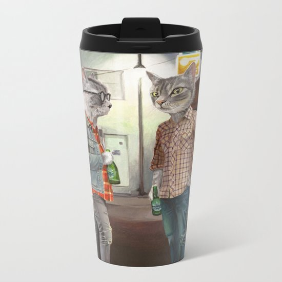 A Cats Night Out Metal Travel Mug