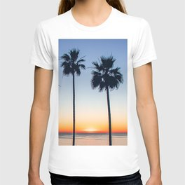 Sunset Ocean Palm trees Silhouettes (blue and orange) T-shirt