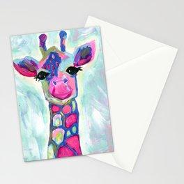 Giraffe Painting, Colorful Blue Giraffe, Magenta Green Blue Giraffe Stationery Cards