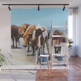 Watercolor Horse 40, Assateague Pony, Assateague, Maryland, Herd Hunters Wall Mural