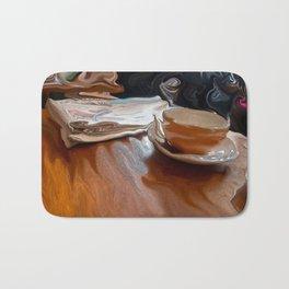 Coffee Shop Newspaper Bath Mat