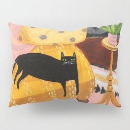 black cat on mustard yellow sofa painting by Tascha Pillow Sham