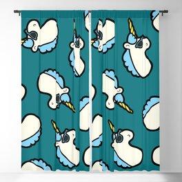 Unicorns are Cool Pattern - Blue Blackout Curtain