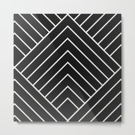 Diamond Series Pyramid White on Charcoal Metal Print