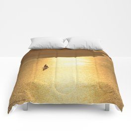 Sailing on a Golden Sea Comforters