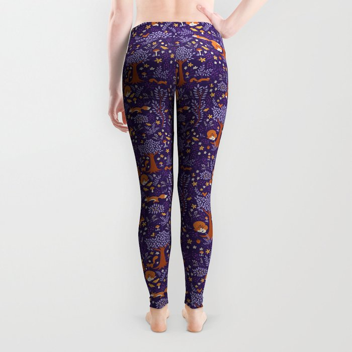 Foxes Playing in a Purple Forest Leggings
