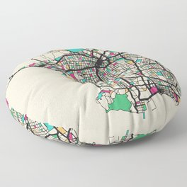 Colorful City Maps: Los Angeles, California Floor Pillow