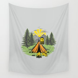 Recharging Offline Camping Dog Wall Tapestry