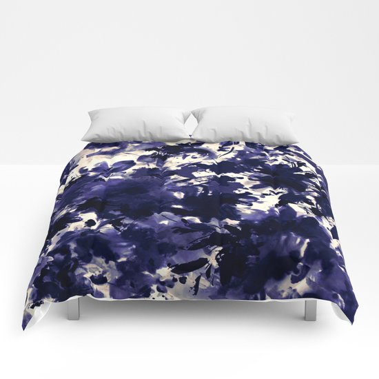 abstract floral in deep blue and black Comforters