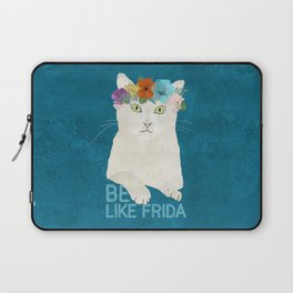 Be like Frida! White cat in flower crown on blue Laptop Sleeve