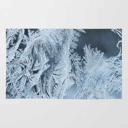 White Ice Crystals On Blue Background #decor #society6 #homedecor Rug