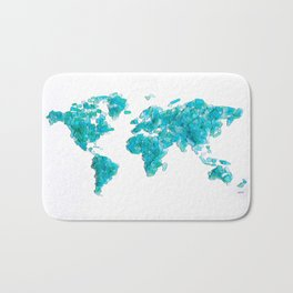 Turquoise Sea Glass World Map Bath Mat