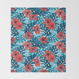Tropical Hibiscus Pattern Red Throw Blanket