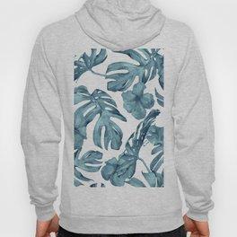 Teal Blue Tropical Palm Leaves Flowers Hoody
