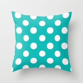 Polka Dots (White/Eggshell Blue) Throw Pillow