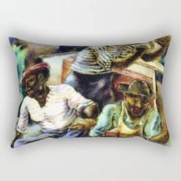 African American Masterpiece 'Brick Masons' portrait painting by G. Bellows Rectangular Pillow
