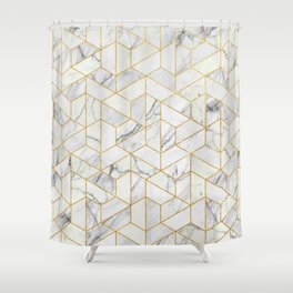Marble hexagonal pattern Shower Curtain