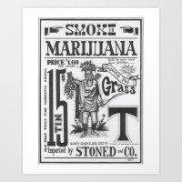 marijuana Art Prints featuring SMOKE MARIJUANA by NIGHTJUNKIE