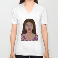 asia V-neck T-shirts featuring Asia woman by angelprint