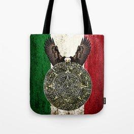 MEXICAN EAGLE AZTEC CALENDAR FLAG Tote Bag