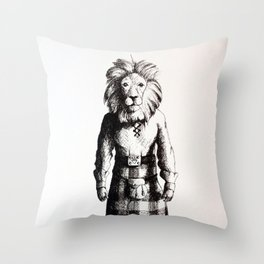 Lion in Kilt (Sketch) Throw Pillow
