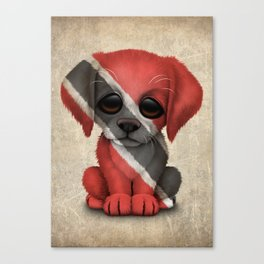 Cute Puppy Dog with flag of Trinidad and Tobago Canvas Print