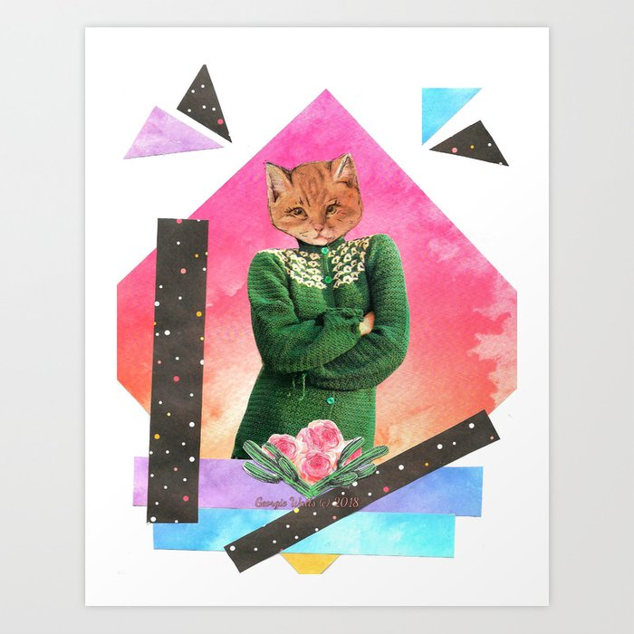 Roses are pink handcut collage Art Print