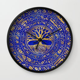 Tree of life -Yggdrasil - Lapis Lazuli Wall Clock