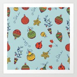 Christmas Toys Pattern Art Print