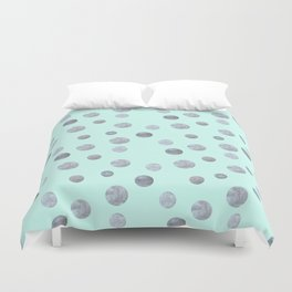 Silver dots on mint Duvet Cover