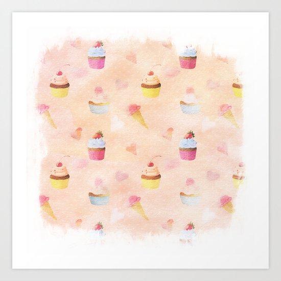 Happy summer- lovely vintage cake summer pattern Art Print