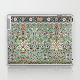 Asian Floral Pattern in Turquoise Blue Antique Illustration Laptop & iPad Skin