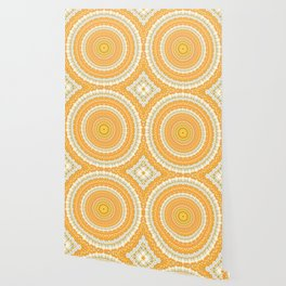 Marigold Orange Mandala Design Wallpaper