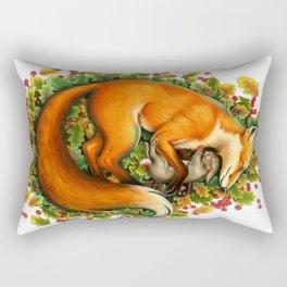 Fox and bunny sleeping Rectangular Pillow