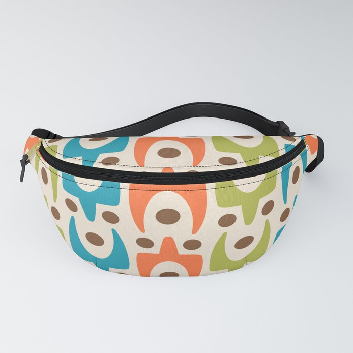 Mid Century Modern Abstract Pattern 441 Orange Chartreuse and Turquoise Fanny Pack